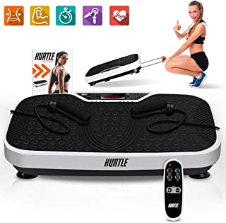 Hurtle Fitness Vibration Platform Machine - Home Gym Whole Body Shaker Exercise Machine Workout Trainer Fast Weight Loss w/ Resistance Bands, Easy Carry Wheel Remote, Adjustable Speed - HURVBTR36