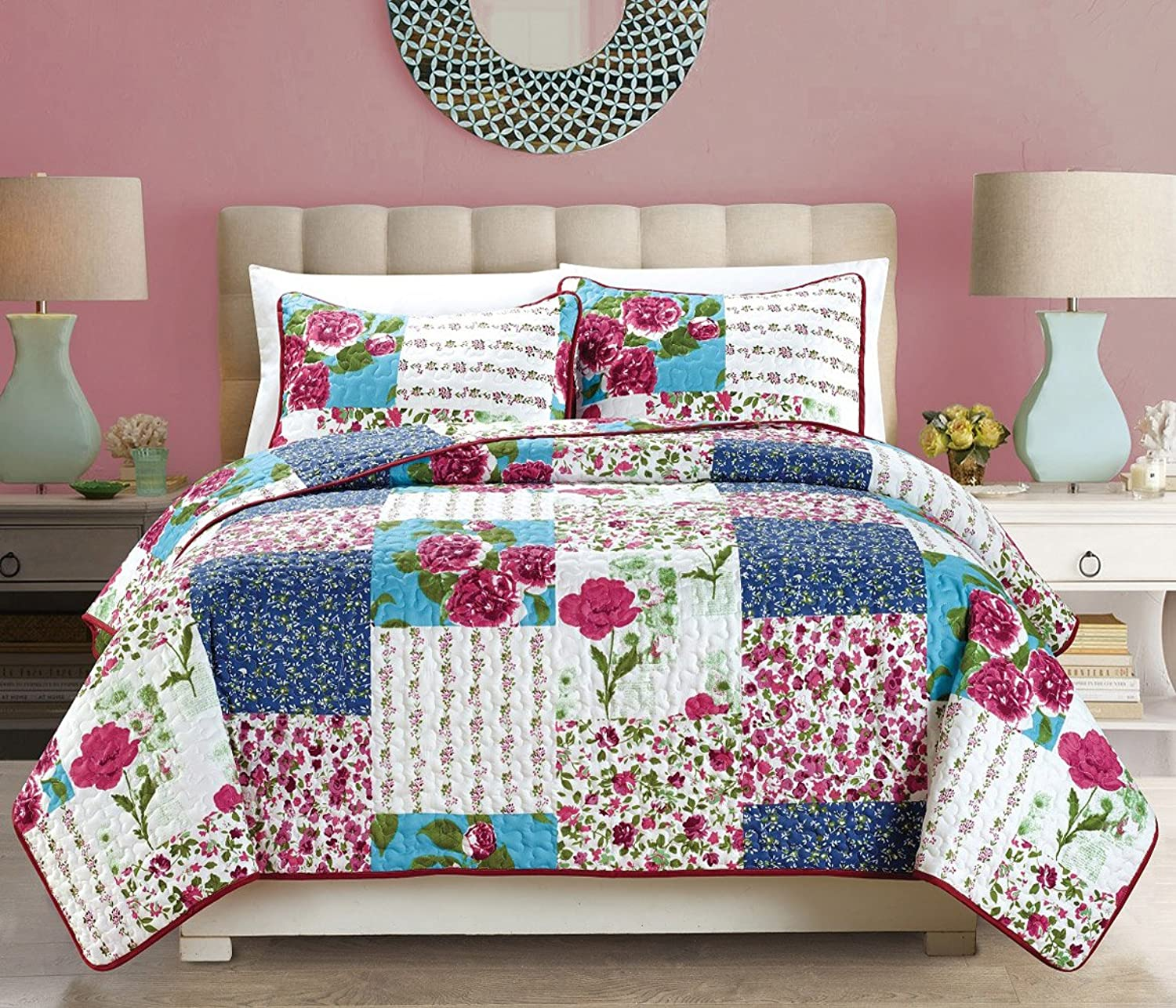 2-Piece Fine printed Country pink Oversize (66  X 95 ) Quilt Set Reversible Floral Bedspread Coverlet TWIN   TWIN XL SIZE Bed Cover (Navy bluee, Burgundy, Red, White, Green, Turquoise)