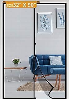 """Magnetic Screen Door 32 x 90, Reinforced Fiberglass Mosquito Net Curtain for Walk Through Door Fit Doors Size Up to 32""""W x..."""