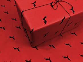 Flying Bats on Red Gothic Wrapping Paper - up to 8 Feet of Birthday Gift Wrap