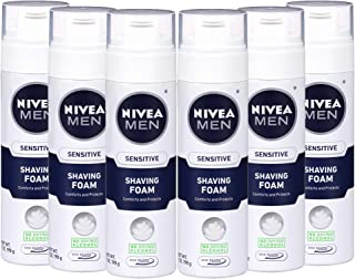 NIVEA Men Sensitive Shaving Foam - Soothes Sensitive Skin From Shave Irritation - 7 oz. Can (Pack of 6)