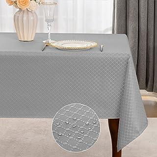 رومیزی مقاوم در برابر چین و چروک پارچه رومیزی پارچه ای مستطیل Jacquard ، رومیزی با وزن سنگین پارچه پلی استر قابل شستشو برای تزیین رومیزی آشپزخانه ، 52 70 70 اینچ ، خاکستری