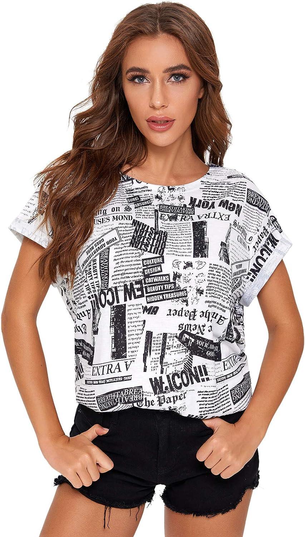SheIn Women's Round Neck Short Sleeve Tops Cartoon Printed T Shirts