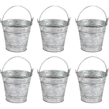 Mini Buckets for Crafts and Party Favors (2.8 in, 6 Pack)