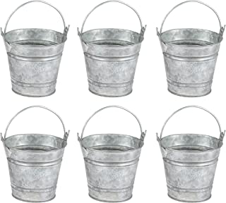 Juvale Mini Metal Buckets with Handles - 6-Pack Party Tin Pail Containers for Gifts, Candy, Party Favors, 2.8 Inches Tall