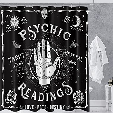 Homewelle Gothic Psychic Goth Shower Curtain 60Wx72L Inch Spooky moth Tarot Halloween Ouija Hands Palmistry Reading Witch Coo