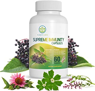 7-in-1 Elderberry Capsules with Zinc, Vitamin C, Echinacea, Goldenseal, Astragalus & Probiotics - 60ct Vega...
