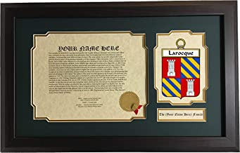Larocque - Coat of Arms and Last Name History, 14x22 Inches Matted and Framed