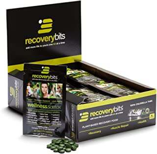 RECOVERYbits Pure Chlorella Tablets – Box of 30 Single Servings (7500mg per Serving) – Cracked Cell Wall, Non-GMO, Non-Irradiated, Green Algae – Keto, Vegan, Superfood