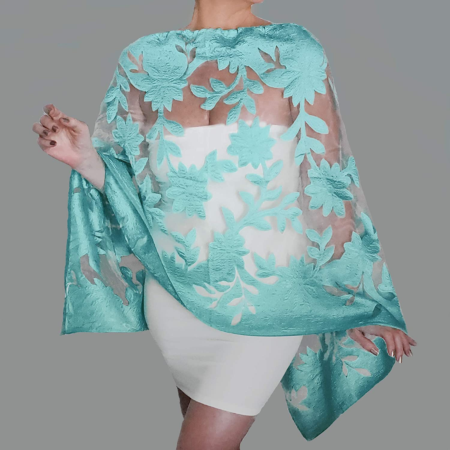 Wedding Wraps Evening Shawls Off The Shoulder Top Poncho Scarf Stole (Wine)