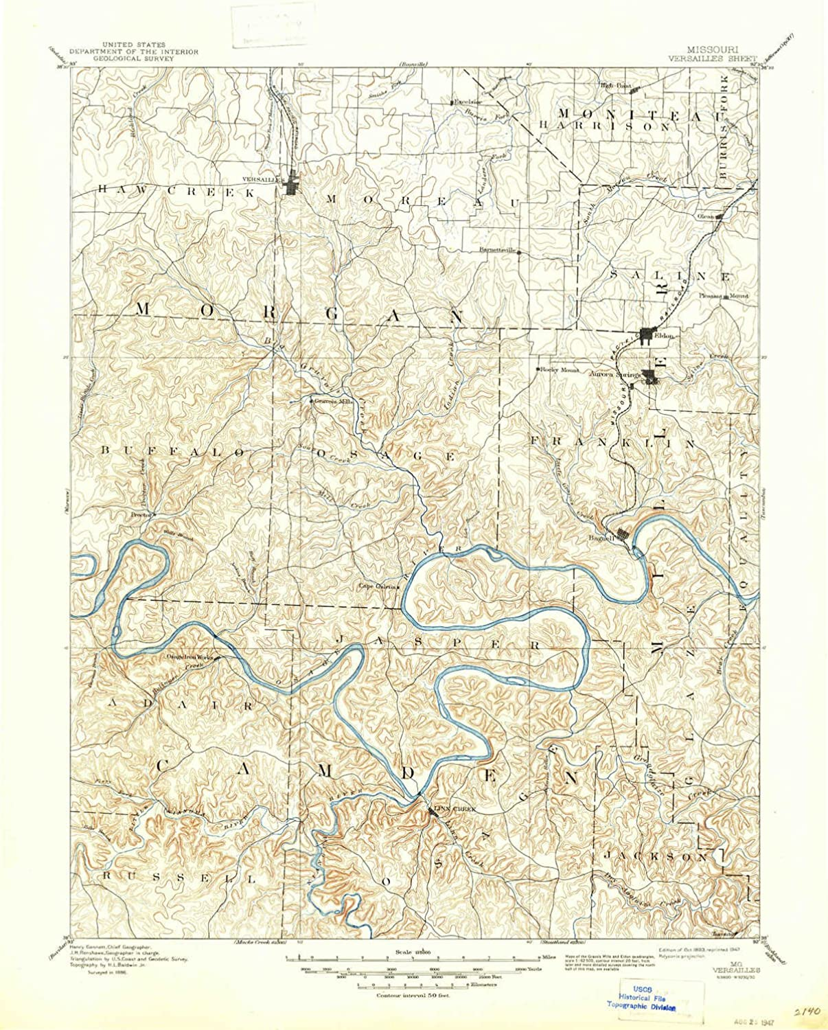 Versailles MO topo map, 1 125000 Scale, 30 X 30 Minute, Historical, 1893, Updated 1947, 20.7 x 16.6 in