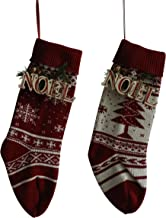CVHOMEDECO. Burgundy and Ivory White 18 Inch Christmas Tree Knit Stockings Bag with Wooden Noel Sign Rustic Hanging Decora...