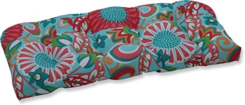"Pillow Perfect Outdoor/Indoor Sophia Tufted Loveseat Cushion, 44"" x 19"", Turquoise/Coral"