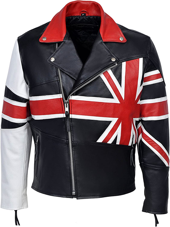 Smart Range Men's Brando Union Jack Motorcycle Biker Hide Real Leather Jacket