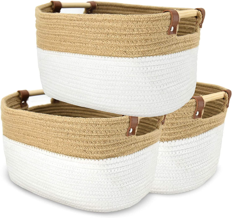 Cotton Rope Woven Storage Baskets Bin New supreme sales Decorative of Cotto 3 Set