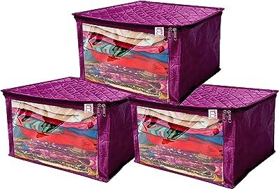 atorakushon® Satin Saree Cover Garments Cover Bag Wardrobe Organiser Up to 15 Clothes Storage Set Pack of 3 (Purple)
