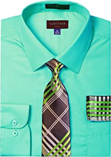 Mens Dress Shirt with Matching Tie and Handkerchief(30 Colors, XS-5XL)