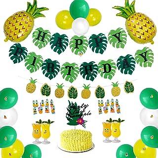 TOUROAM Tropical Pineapple Palm Leaf Birthday Banner Party Decoration Supplies,Glitter Hawaiian Luau Theme Birthday Garlan...