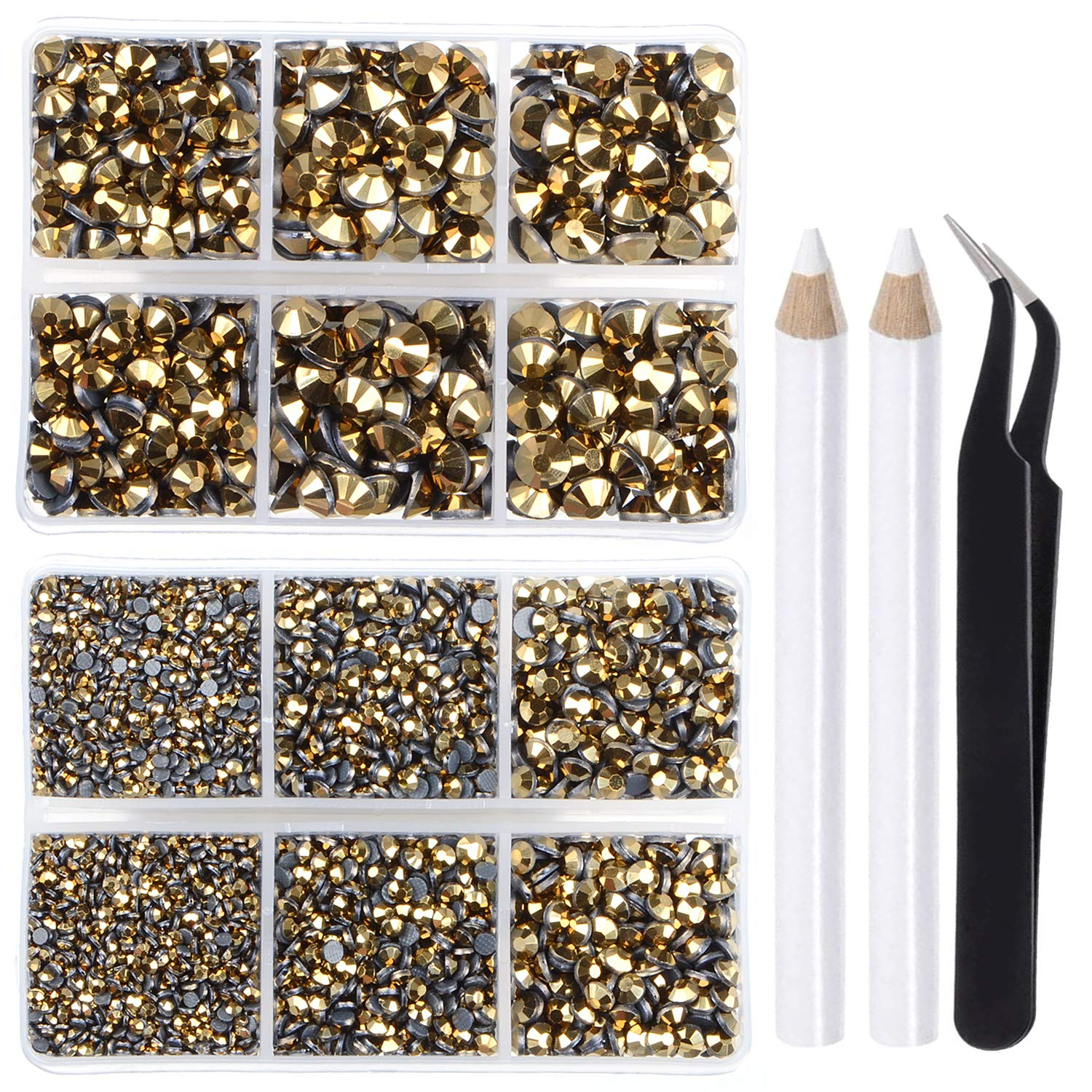 LPBeads Indefinitely 6400 Pieces Hotfix Special Campaign Rhinestones Gold 5 Flat Back Metallic