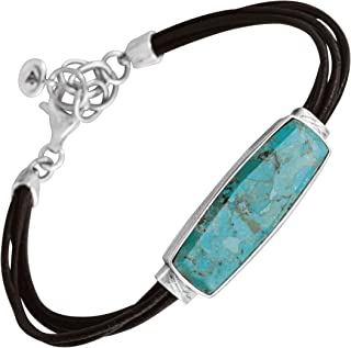 True Colors' Compressed Turquoise Link Bracelet in Genuine Leather and Sterling Silver, 7