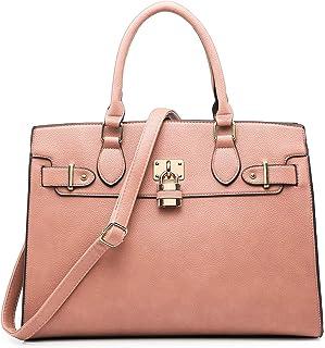 Women Ostrich Handbag Fashion Ladies Shoulder Bag Top Handle Satchel Purse 2 Pieces Set Pink Size: Large