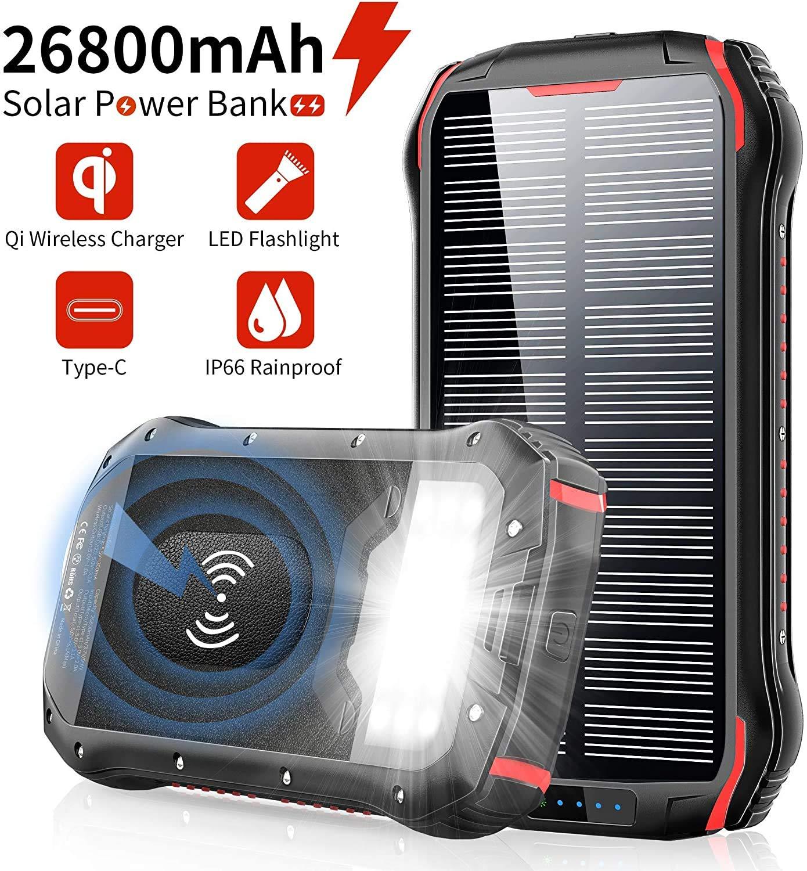 Solar PowerBank 26800mAh Cargador Solar, QI Carga inalámbrico ...
