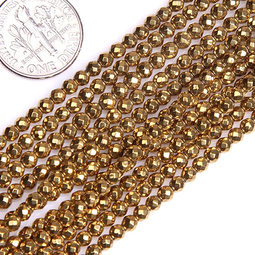 GEM-insid 3mm Hematite Facted Round Gold Color Beads Strand 15 Inches For Jewelry Making bracelets Necklace