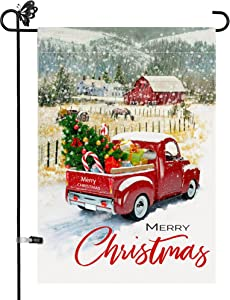 Utiginye Decorative Merry Christmas Garden Flag Red Truck,Winter Rustic Quote House Yard Flag with Xmas Tree, Garden Flag for Outside Holiday Yard Decorations Flags 12x18 Double Sided