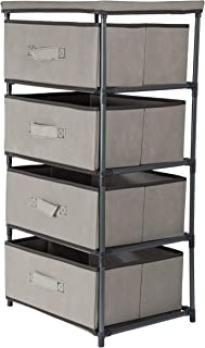 Juvale 4-Layered Storage Bin Cabinet Drawer for Clothing, Underwear, Documents, Household Objects - Light Gray, 16.5 x 13 x 33 inches