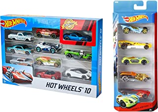 Hot Wheels 10 Cars Gift Pack Assortment + Hot Wheels Five Car Gift Pack Assortment Colors and Designs Might Vary