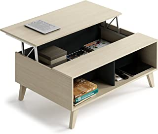 Habitdesign 0Z6633R - Mesa de Centro elevable con revistero Incorporado Color Roble y Antracita 100 cm (Largo) x 4153 c...