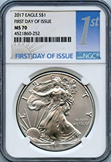 2017 silver eagle ms70 first day of issue