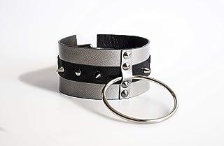 Collare fetish BDSM da schiava in cuoio rinforzato, con anello per guinzaglio, stringicollo bondage per sottomessa