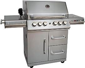 Mayer Barbecue ZUNDA Gasgrill MGG-342 Master mit Backburner u. Seitenbrenner Grillstation, 100% Edelstahl, Grillfläche 70 x 45 cm, inkl. Drehspieß 220 V u. Schutzhülle