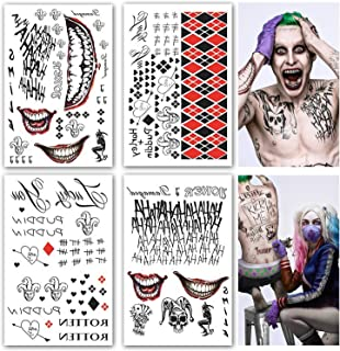 Leoars Large Temporary Tattoos Full Body Bundle Suicide Squad Harley Quinn Joker Cosplay Temporary Tattoo Sticker Halloween Props Costume Cosplay Party Accessories, 4-Sheet