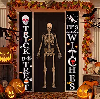 CandyHome Halloween Porch Sign Decorations Outdoor, It's October Witches & Trick or Treat Banner Welcome Hanging Sign for ...
