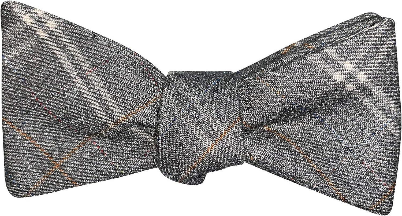 Mens Gray Plaid Casual Formal Self-Tie Cotton Bow Tie Adjustable Length Bowtie, By The Ellis Tie Company