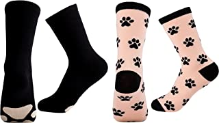 Cute Animal Socks for Girls - 2-Pair Animals and Pets Design Novelty Crew Socks, For Age 10-14, US Size 4 to 8