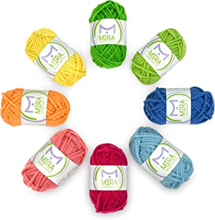 Mira Handcrafts 8 Acrylic Yarn Multicolor Skeins – DK Yarn Starter Kit – 7 Ebooks with Yarn Patterns Included – Crochet and Knitting Yarn for Beginners and Kids