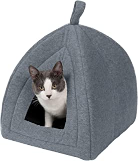 Furhaven Pet Cat Bed - Triangle Hooded Tent House Cave Fleece Dome Lounger Hood Pet Bed for Cats and Small Dogs, Heather G...