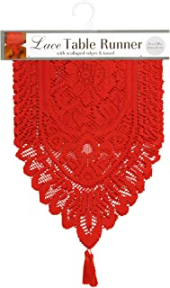 Ritz Lace Table Cloth Runner, 13 X 54, Red