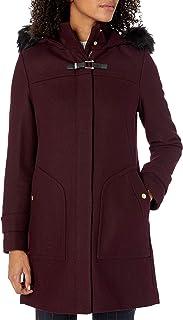 Cole Haan Women's Wool Duffle Coat with Faux Fur Trimmed Hood
