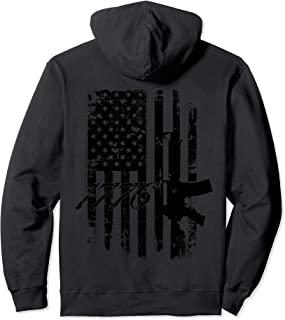 AR-15 Distressed Flag Military Hoodie for Gun Rights
