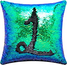 Livedeal Reversible Sequins Mermaid Pillow Cases 4040cm Multi Green and Black