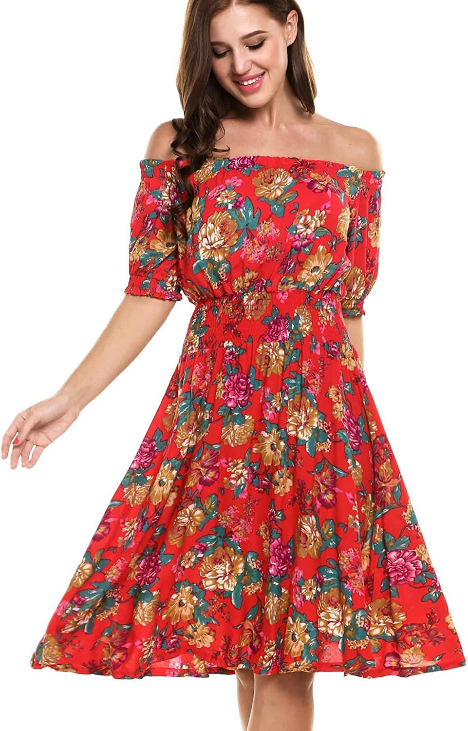 Pagacat Women's Off the Shoulder Midi Short Party Flowers Elastic Waist Dress MXXL