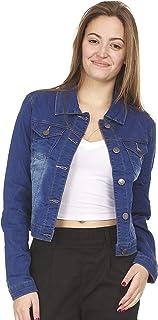 COVER GIRL womens Jeans Denim Jacket Crop Frayed Blue Distressed or Dark Basic Denim Jacket