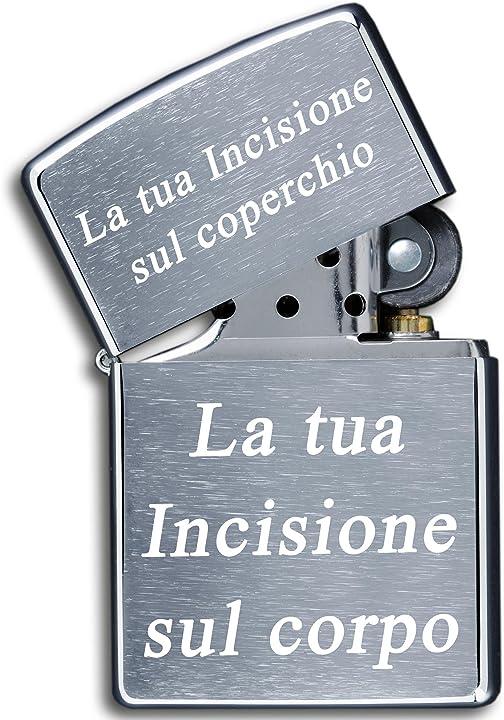 Zippo originale con incisione  testo | cromato spazzolato, chrome brushed  3dglas ZCG_IT_Text