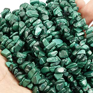 Loveliome 95 Inches Malachite Irregular Shaped Crystal and Healing Tumbled Chip Stone Beads for Jewelry Making