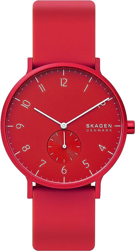 Skagen orologio per donna,cassa in acciaio inossidabile e cinturino in sicilicone SKW6512