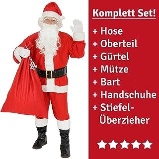176e7627da5f5 FOXXEO Costume de Père Noël 9 pièces pour Homme avec Chapeau